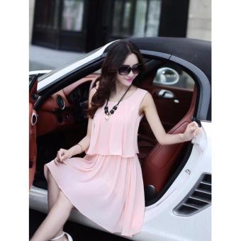 Đầm Chiffon nữ 2 tầng thời trang (Hồng)