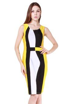LALANG Bodycon Pencil Dress (Yellow) - Intl