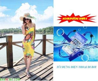 Khăn choàng đi biển duyên dáng + tặng kèm túi điện thoại chống thấm nước (Vàng)