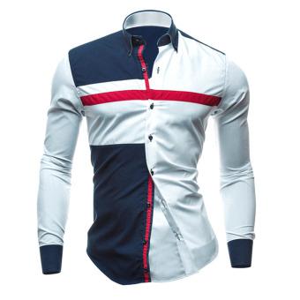 New Men Fashion Luxury Casual Slim Fit Shirts White - intl