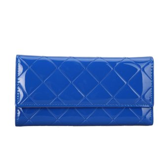 Women PU Long Wallet Lady Purse Card Holder Clutch Handbag (Sapphire Blue) - intl