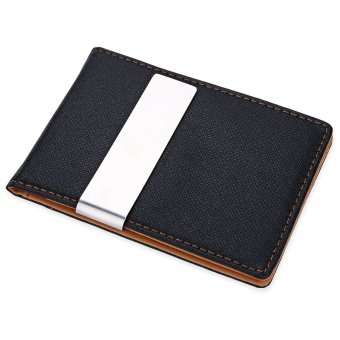 JINBAOLAI Unisex Short Hard Money Clip Open Horizontal PU Leather (Coffee) - intl