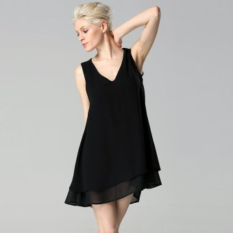 Cyber Angvns Lady Women Sexy V-Neck Sleeveless Backless Loose Casual Mini A-line Chiffon Dress ( Black ) - Intl
