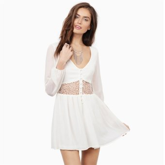 Zaful Chiffon Dress Hollow Out Lace Stitching V-neck Women(White) - Intl