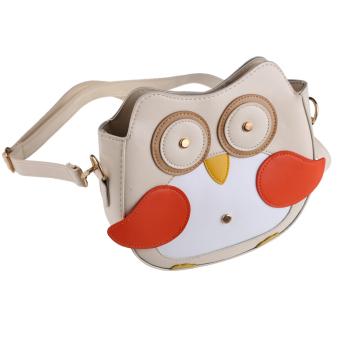 Women Owl Pattern Faux Leather Small Cross Body Bag Shoulder Bag Apricot (Intl)