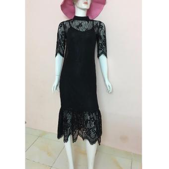 Đầm ren đen dạ hội cao cấp JasminRose