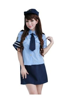 Shirt Collar Blouse + Wrapped Skirt Women's Cosplay Costume (Blue) - intl