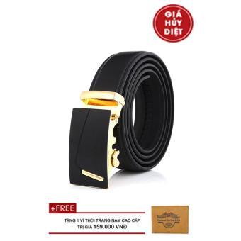 Thắt Lưng Nam Da Cao Cấp NHT-10630*NV (Đen Vàng)