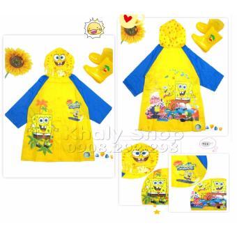 Áo mưa hình nhân vật cậu bé bọt biển Spongebob dành cho trẻ em và các bé nhiều size AMSPO001
