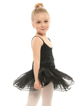 Cyber New Kids Girl Spaghetti Strap Floral Appliques Multi Layer Ruffle Ball Gown Dress ( Black ) - intl
