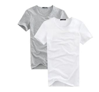 Combo 2 áo thun nam cổ tròn mềm mịn, thấm hút tốt (Trắng/Xám) thoitrangtrandoanh