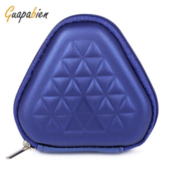 Guapabien Unisex EVA Geometric Print Triangle Shape Hard Shell Fidget Spinner Earphone Storage Bag(Blue) - intl