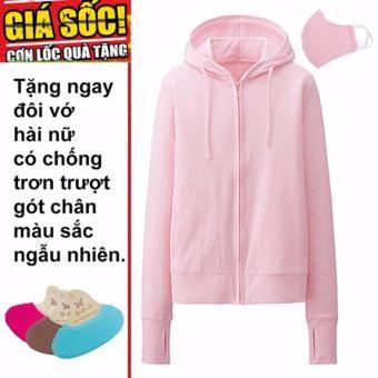 Áo khoác chống nắng cotton mịn (hồng phấn nhạt) tặng kèm khẩu trang + 1 đôi tất hài chống trơn trượt