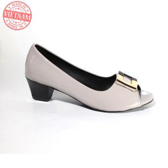 Giày cao gót 5p đế vuông cao cấp thanh lịch màu xám NT FASHION 139501