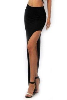 Sunweb Irregular Side Slits Long Skirt (Black) - intl