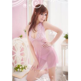 Váy ngủ ren cổ yếm (Hồng)