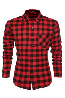 Cyber Men's Casual Leisure Grid Long Sleeve Lapel Shirt (Red) - Intl