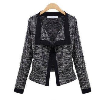 Black Women's knitwear Knitted Sweater Top Cardigan Lapel Jacket Coat - intl