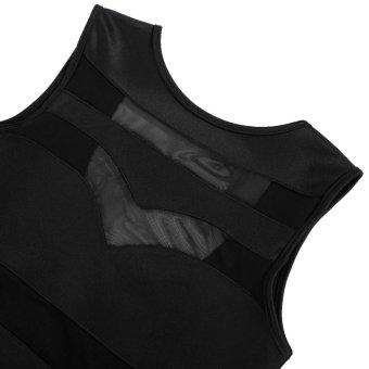 Linemart Zeagoo Women Sexy Dress O-Neck Backless Mesh Patchwork High Waist Sundress ( Black ) - intl