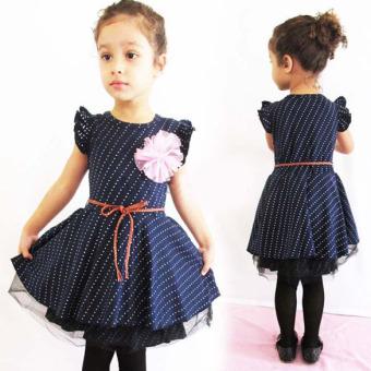 Summer Short Sleeve Dots Stripe Flower Kids Girls Fashion Dress Belt - intl