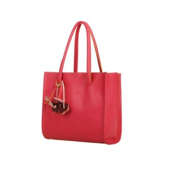 Fashion girls handbags leather shoulder bag candy color flowers totes Red - intl
