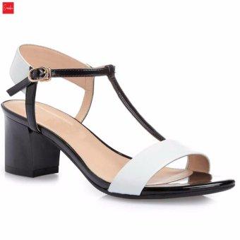 Giày Sandal Nữ Gót Vuông Erosska - SD002 ( Màu Trắng Đen)