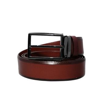 Dây lưng nam da bò thật mặt kim EDM123 (Nâu đỏ)