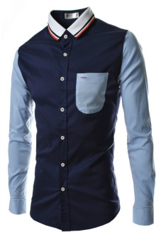 Reverieuomo CS32 Single Breasted Knit Collar Shirt (Navy Blue) - Intl