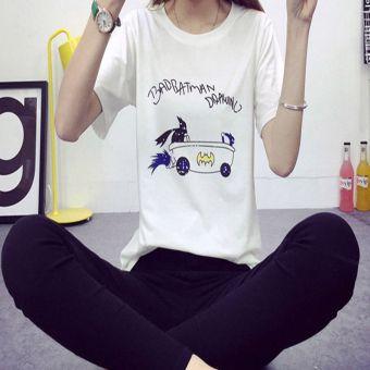 Woman Cotton Loose Cartoon Printing T-Shirt (White)--TC - intl