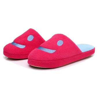 Cartoon Plush Lover Smile Women Shoes House Home Floor Warm Slippers Soft Antiskid Winter Slipper Pantufas Shoes Red - intl