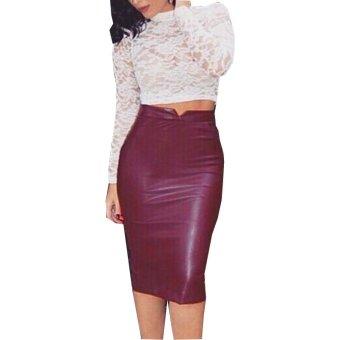 Audew Women Winter Spring Sexy Faux Leather High Waist Slim Pencil Skirt Maroon - intl