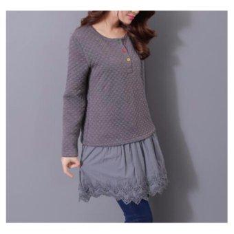 New Lace Stitching Dress Blouse Fashion Tops Lace Shirt Dress - intl