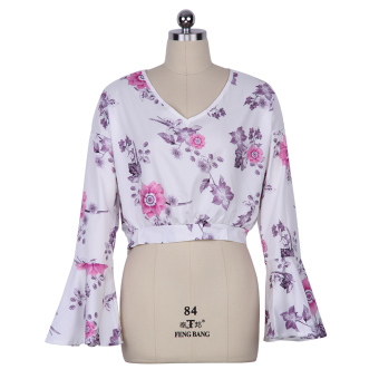 Zaful Woman Polyester V-Neck Floral T-Shirt --TC - intl