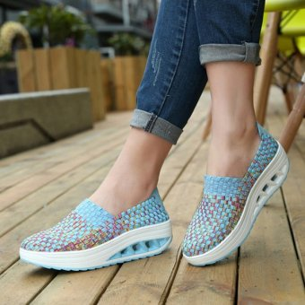 Colorful Rocker Sole Shoes Handmade Knit Shake Shoes Casual Slip On Sneakers Blue - intl