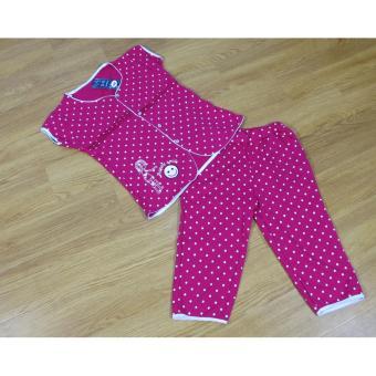 Bộ quần áo nữ mặc nhà Tím Hồng chấm bi free size dưới 52kg