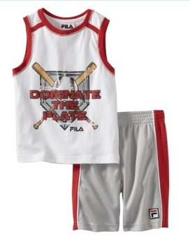 Bộ quần short & áo thun thể thao bé trai Fila Little Boys' Baseball Bộ, Arctic White/Micro Chip (Trắng)