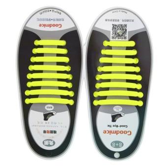 Allwin New Design Convenient No Tie Shoelaces 16pcs/set Silicone Elastic Shoe Lace yellow - intl