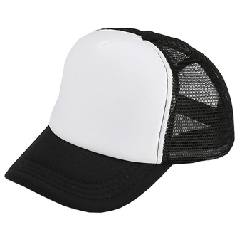 Unisex Adjustable Casual Sport Baseball Breathable Blank Mesh Sun Protection Trucker Hat Peaked Hat Cap Black + White - intl