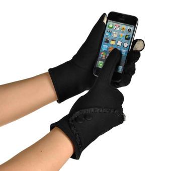 Women Touch Screen Winter Warm Wrist Gloves Mittens Black - Intl