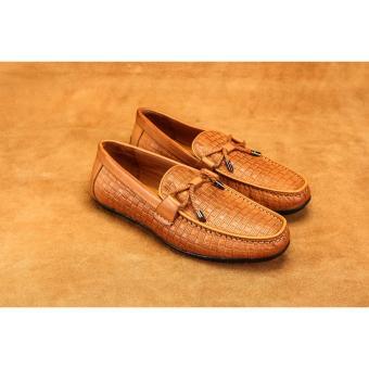 Giày lười nam công sở Laforce họa tiết kẻ ô đục lỗ GNLA869-3-V