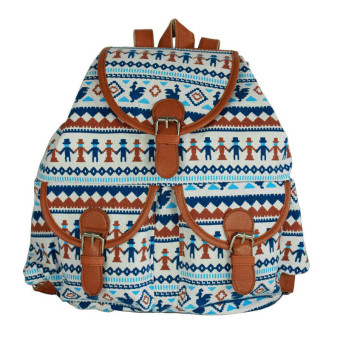 Vintage Canvas Travel Rucksack School Bag Satchel Bookbags Backpack Blue - Intl