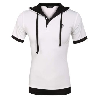 Cyber COOFANDY Men Fashion Casual Slim Short Sleeve Patchwork Hooded Polo Shirt (White) - Intl
