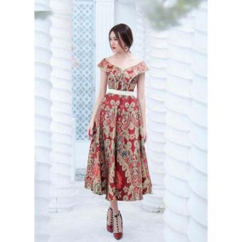 Đầm xoè bẹt vai hoạ tiết thổ cẩm cực sang