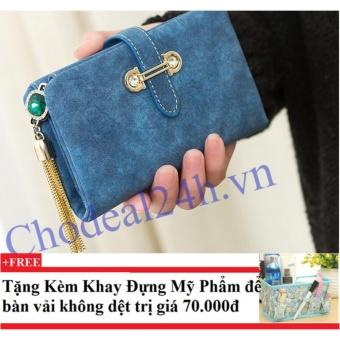 Ví nữ mẫu nhỏ gọn CDVN01 (xanh dương đậm) + Tặng kèm khay đựng mỹ phẩm để bàn