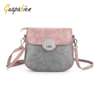 Guapabien Round Insert Buckle Patchwork Color Women Shoulder Bag(Pink) - intl