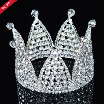 Luxury Crystal Rhinestone Pageant Princess Crown Headpiece Wedding Bridal Tiara Silver - intl
