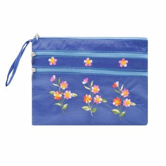 Ví cầm tay 3 khóa Hoian Gifts vải lụa thêu hoa (xanh dương) HA-50B