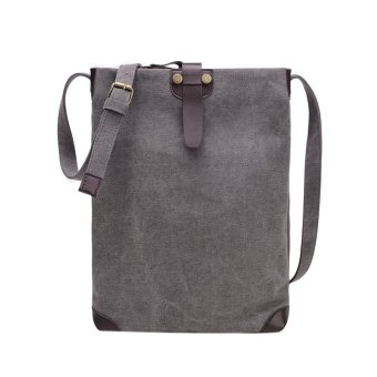 Men Canvas Travel Crossbody Shoulder Bag(Dark gray) - intl