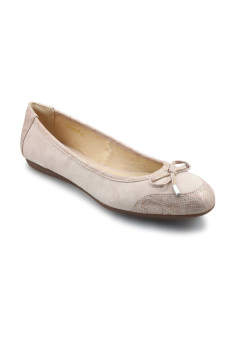Giày búp bê nữ da lộn đính nơ