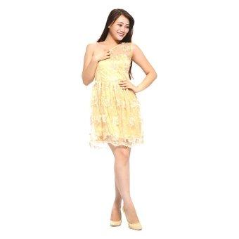 Đầm nhũ vàng lệch vai KT fashion MSD27 (Vàng)